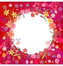 Greeting card with wreath of different flowers vector