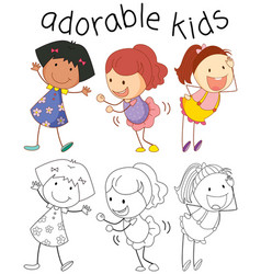 Group of doodle adorable kids vector