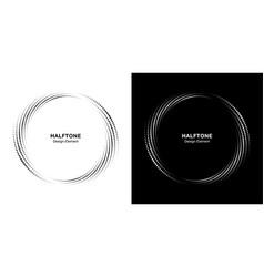 halftone circle dotted frame logo emblem vector image