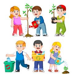 happy kids gardening vector image