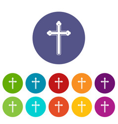 Holy cross icons set flat vector
