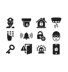 Home security icon set 01 vector