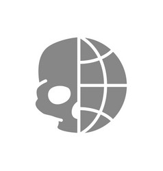 Human skull with planet grey icon day dead vector