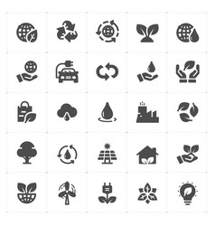 icon set - environment filled icon style vector image