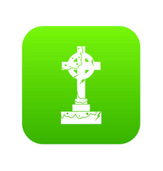 Irish celtic cross icon digital green vector
