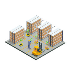Isometric automated warehouse robots modern vector