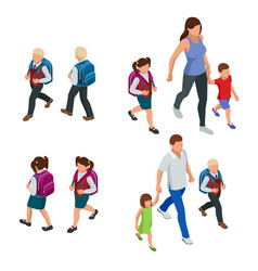 isometric back to school parents with their vector image