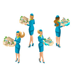 Isometry is a set of female stewardesses offering vector