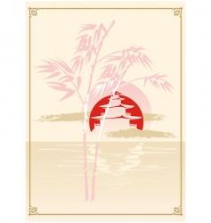 Japanese pagoda bamboo and sun vector