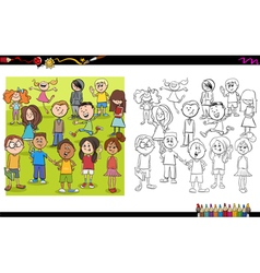 Kid characters coloring book vector