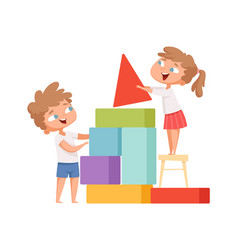 Kids playing happy children build colorful cubes vector