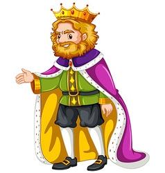 King wearing purple robe vector image