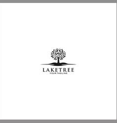 lake tree logo template design vector image