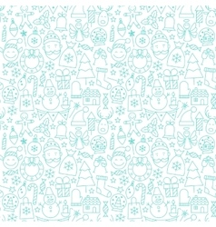 Line New Year Tile White Pattern vector image
