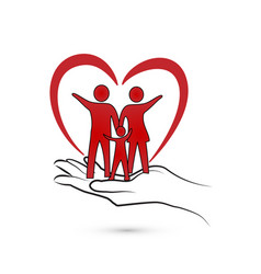 Loving heart family and caring hand vector