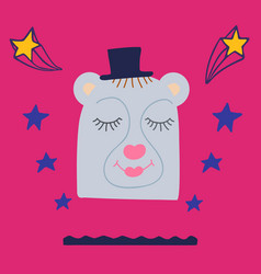 magic hand-drawn bear in a hat with doodles vector image