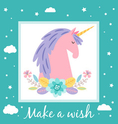 make a wish card template with cute unicorn and vector image