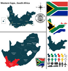 Map of western cape south africa vector