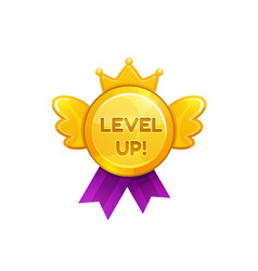 Medal award for level up isolated ui game prize vector