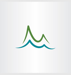 mountain and lake water simple logo icon vector image