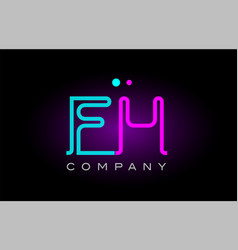 neon lights alphabet fh f h letter logo icon vector image