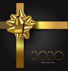 new year 2020 gold black gift box ribbon card vector image