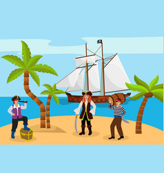 pirate captain woman and man carries rum character vector image