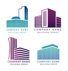 real estate construction company logo set vector image