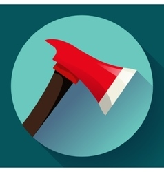 Red fire ax icon flat style vector image