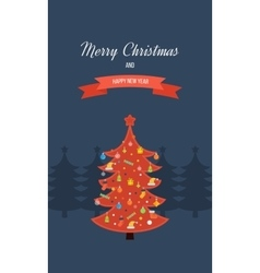 Red stylized Christmas tree New Year greeting vector image