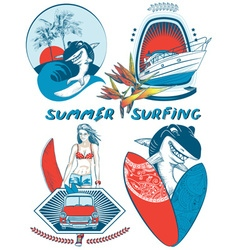 Retro Summer Surfing Icon Set vector