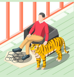 Rich man patting tiger vector
