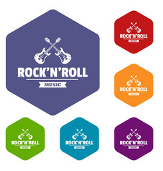 Rock n roll icons hexahedron vector