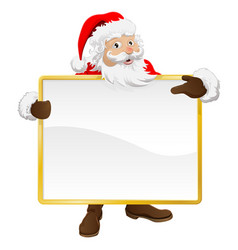 Santa holding christmas sign and pointing vector