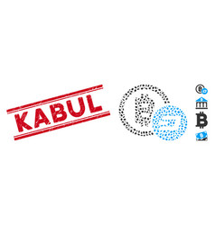 Scratched kabul line stamp with collage bitcoin vector