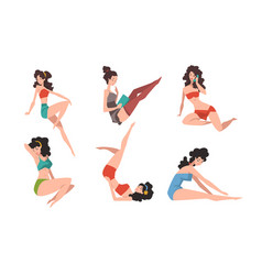 seductive pin up girls set beautiful brunette vector image