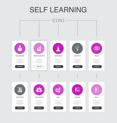 Self learning infographic 10 steps ui design vector