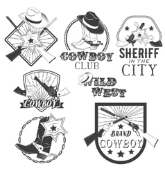 Set of cowboy labels in vintage style Wild vector