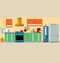set of furniture in kitchen with refrigerator vector image