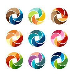 set of isolated colorful logo template vector image