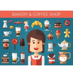 Set of modern flat design coffee-shop cafe and vector image