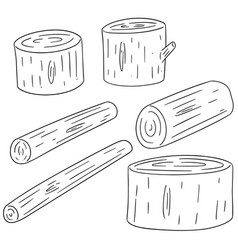 Set of wooden timber vector
