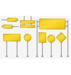 set of yellow road signs vector image