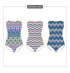 Set swimwear with a geometrical pattern vector