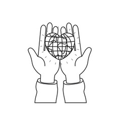 Silhouette front view of hands holding in palms a vector