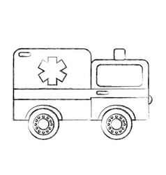 sketch draw ambulance car cartoon vector image