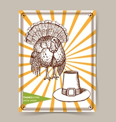 Sketch thanksgiving turkey and hat vector