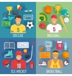 Soccer baseball hockey and basketball symbols vector