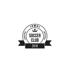 soccer club stamp icon - flat circle with text and vector image