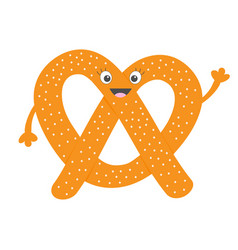 Soft pretzel icon sweet salted bakery pastry cute vector